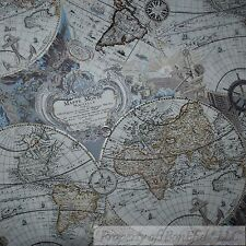 BonEful FABRIC FQ Cotton Quilt Blue Silver Brown Old World Map L Antique America