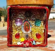 VIRGIN OF GUADALUPE MILAGRO SEQUIN LED LIGHT ALTAR BOX CHRISTAIN FREE SHIPPING