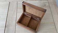 WOODEN TEA BAG BOX WHIT TWO COMPARTMENTS, PLAIN WOOD, IN LIGHT BROWN COLOUR