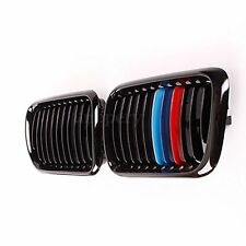 Pair Front Gloss Black M Style Kidney Grille Grill For BMW E36 M3 3 Series 97-99