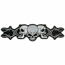 "Barbed Wire Skull Trio HUGE 10"" x 3"" BACK PATCH Embroidered Motorcycle LRG-0165"