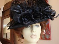 VICTORIAN LADIES BLACK HAT WIDE BRIM WOOL TEA WIDOW MILLINERY DERBY ROSES SASS