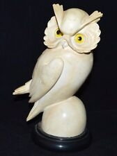 Golden Crown E&R Italy A. Giannelli Carved Alabaster Owl Figurine