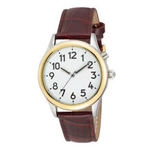 Men's Two Tone Talking Watch White Face: Brown Leather Band - Choice of Voice