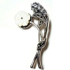 MOTHER-of-PEARL FLOWER Brooch Pin w/ CZ Stones Marcasite .925 STERLING SILVER