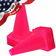 "9"" Tall PINK CONES Sports Training Safety Cone Qty 12"