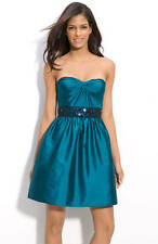 Adrianna Papell Beaded Strapless or Straps Taffeta Party Dress Teal 10