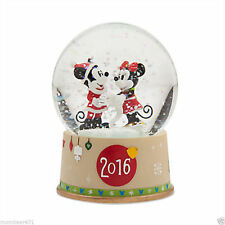 Disney Store 2016 Dated Snow Globe Mickey & Minnie Christmas Holiday NEW IN BOX!