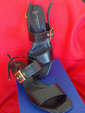 NEW $335 Womens Filippo Raphael Italy Black Leather Shoes Size 37 Heels Sandals
