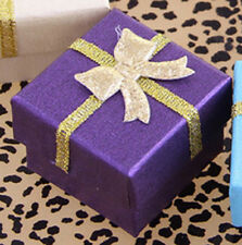 Golden Bowknot Display Purple Jewelry Ring/Earrings Cardboard Paper Gift Box