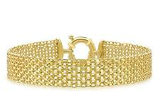 "9ct Yellow Gold Bismark 12mm Wide Bracelet 19cm/7.5"" Mesh Womens Gift Boxed"