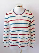 NWT Madewell Ivory Sweater Red and Blue Size Medium