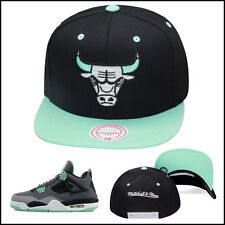 Mitchell & Ness Chicago Bulls Snapback Hat For Jordan 4 6 grey GREEN GLOW BLACK