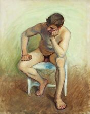 Jansson Eugene Seated Nude On White Chair Print 11 x 14 #4894