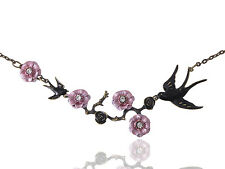 GB Handpaint Enamel Japanese Cherry Blossom Branch Black Sparrow Birds Necklace