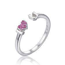 JewelryPalace Love Pink Sapphire Heart Stackable 925 Sterling Silver Ring Size 7