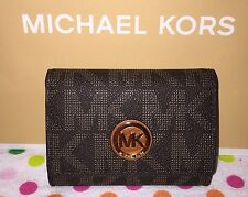 NEW  MICHAEL KORS  FULTON PVC SNAP CARD CASE MINI WALLET BROWN