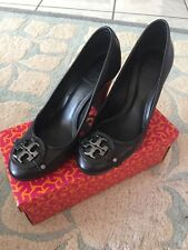 Tory Burch Black Leather Toe Silver Heels Shoes 8.5
