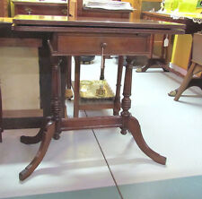 Antique Mahogany Game Table, 1 drawer, duncan phyfe, treadle, double foot style