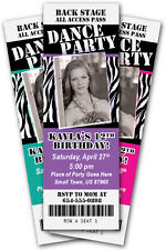 DANCE PARTY Zebra Print Invitation TICKET Stub Rock Star Band Birthday Any Color