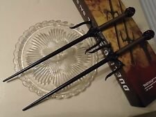 "Dueling Black Red Eye Skull Sai Set 2 Ninja Swords Daggers 19"" OA BK1928 New"