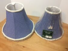 PAIR OF 2 Laura Ashley HOME BLUE FLORAL GINGHAM Beaded Lamp Shades 4.5 X 11 X 8