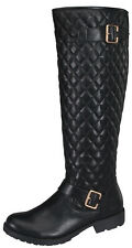 Women Fashion Knee High Quilted Flat Riding Winter Boots ~Size : 5.5 - 10/Black
