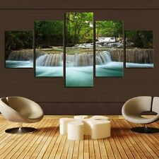 5 Panel Waterfall Painting Canvas Wall Art Picture Home Decoration Living Room