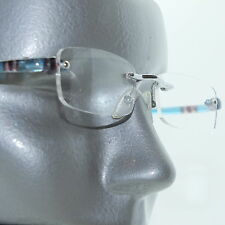 Frameless Metro Tech Blue Stripe Trim Petite Reading Glasses +1.50