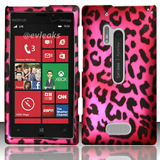 For Nokia Lumia 928 Rubberized HARD Case Snap On Phone Cover Hot Pink Leopard