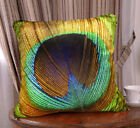 "Elegant Peacock feather design both sides throw pillow / cushion covers 18""x18"""