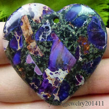 Beautiful Purple Sea Sediment Jasper & Pyrite Heart Pendant Bead D0075174