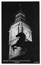BR80854 big ben and boadicea statue by night  london  real photo  uk