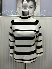 Jump Size M Fits Size 10 12 Black White Striped Turtle-neck Long Sleeve Jumper