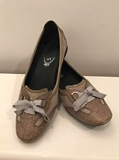 TOD'S Suede Patent Leather Bow Flat Driving Shoes 8  38