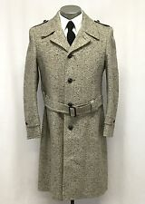 vintage mens beige fleck Stratojac overcoat tweed coat wool retro classic M 40