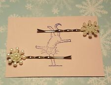 Handmade set of two pearl effect snowflake bobby pin Christmas hair clips