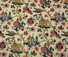P KAUFMANN UZBEK JEWEL MONKEY ELEPHANT BIRD ANIMAL VINE LINEN FABRIC BY THE YARD