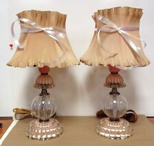 Vintage Estate Pair Mauve Pink Lucite Lamps Ruffle Shade Bedside Table Vanity