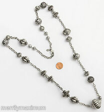 Chico's Signed Necklace Long Silver Tone Chunky Chain Bali Look Beads