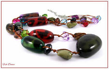 """GORGEOUS MULTI-COLOURED ETHNIC TRIBAL 40"""" LONG STRAND STATEMENT NECKLACE"""