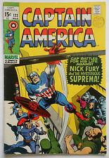CAPTAIN AMERICA #123 - MAR 1970 - NICK FURY APPEARANCE! - VFN+ (8.5) CENTS COPY