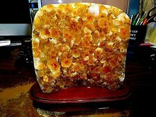LG.  CITRINE CRYSTAL CLUSTER GEODE FROM BRAZIL CATHEDRAL W'WOOD STAND