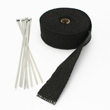 50ft Fiberglass roll Black Racing Exhaust Header Pipe Wrap Tape +6 Ties KIT NEW