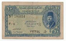 EGYPT 10 PIASTRES 1940 PICK 168 A LOOK SCANS
