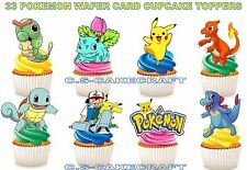 33 POKEMON STAND UP BIRTHDAY PARTY EDIBLE CUPCAKE FAIRY CAKE WAFER CARD TOPPERS