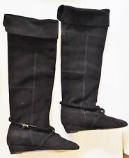 SEYCHELLES Boots Wedge Suede Tall Knee /Over Roll Top Braid Strap Black 7.5 NEW