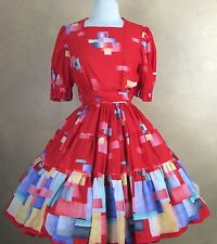 Homemade Red Multi-Color Geometric Print Square Dance Dress