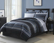 Black Grey White Blue Striped Plaid 8 piece Comforter Bedding Set King Size
