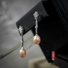 Boucles d`Oreilles Clous Perle de Culture Rose Argent Sterling 925 Fine Class